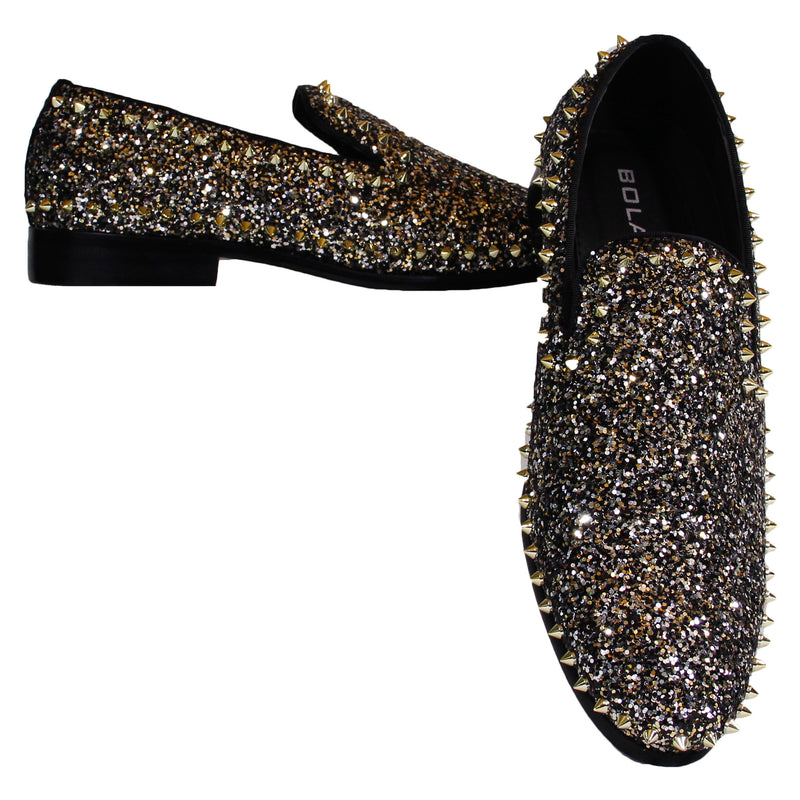 Black/Gold Spiked Bolano Dress Shoes