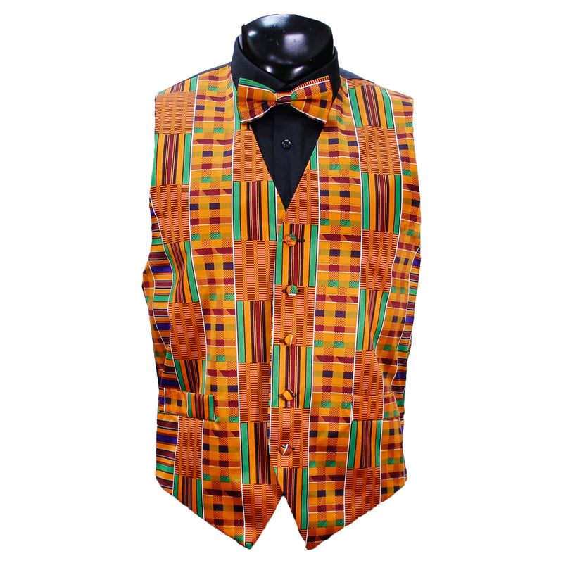 African Design-Kente Vest Set with Bow Tie