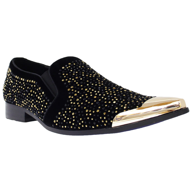 Gold T Embellished Rhinestone Slip On Bolano