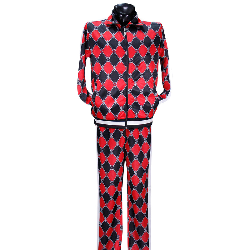 Red/Black Nautical Money Nylon Track Suit