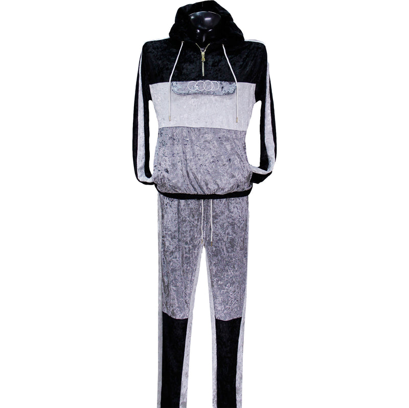 Black/Grey GOOD Velour Track Suit