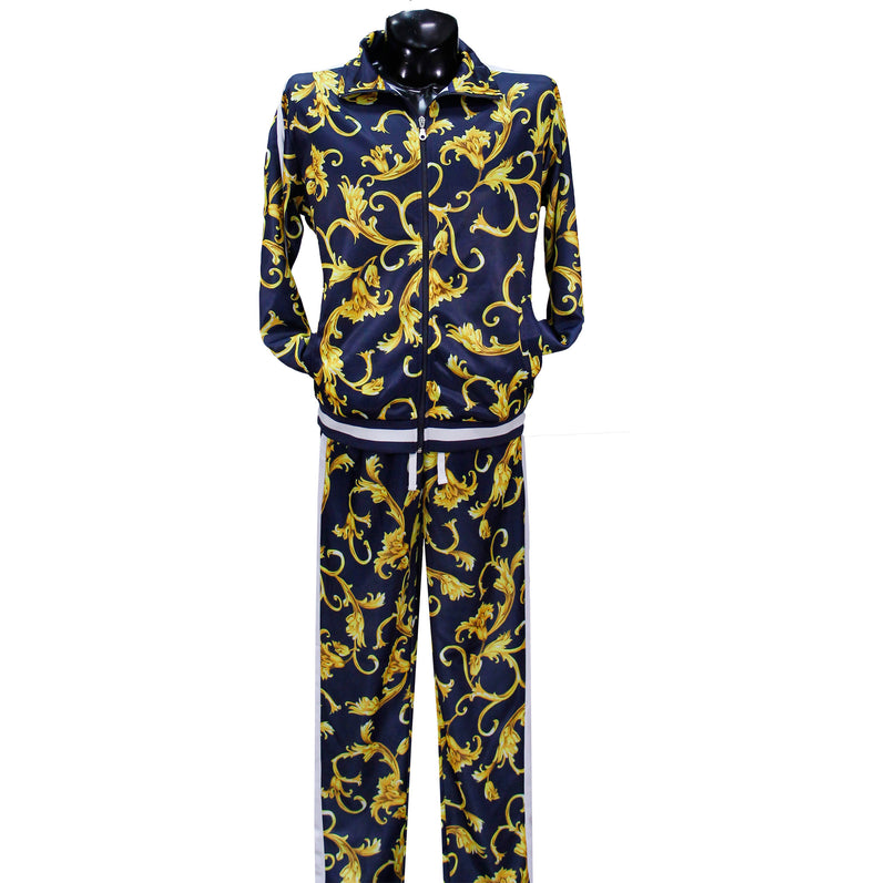 Navy Baroque Print Nylon Track Suit