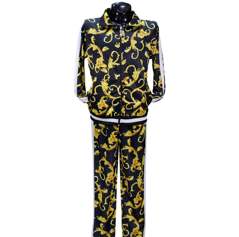 Black Baroque Print Nylon Track Suit