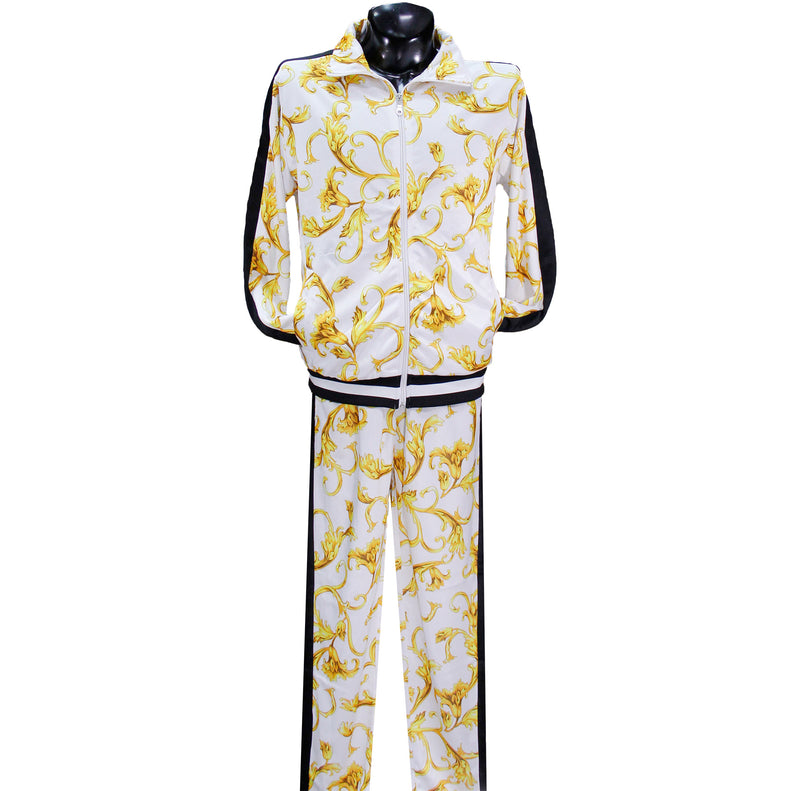 White Baroque Print Nylon Track Suit