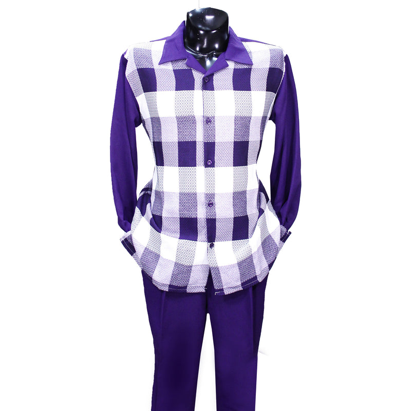 Purple Checkered Montique 2 PC Set