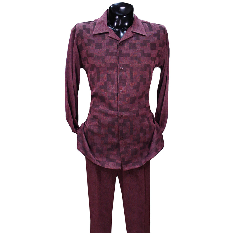 Burgundy Checkered Montique 2 PC Set