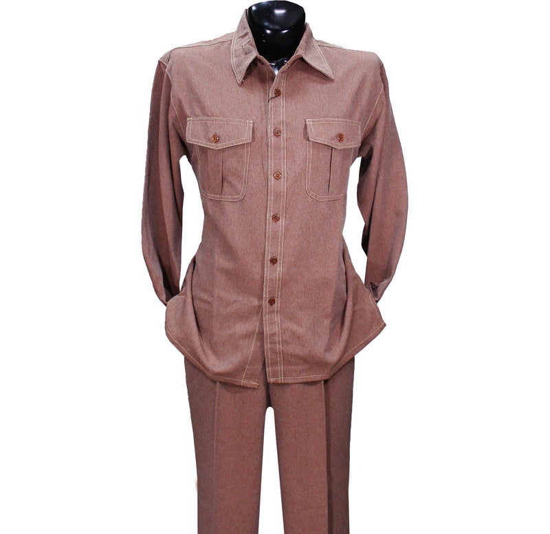 Cognac Denim Look Montique 2 PC Set