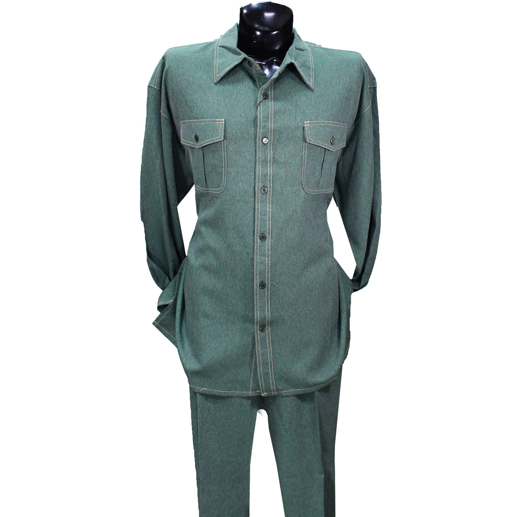 Hunter Green Denim Look Montique 2 PC Set (Big Men)