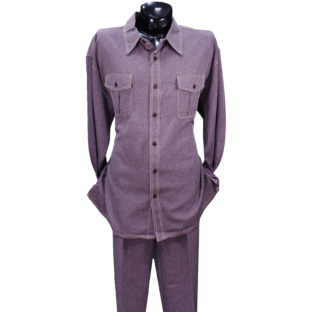 Wine Denim Look Montique 2 PC Set (Big Men)