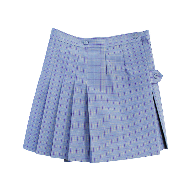 Girls Grey Plaid Uniform Skirt