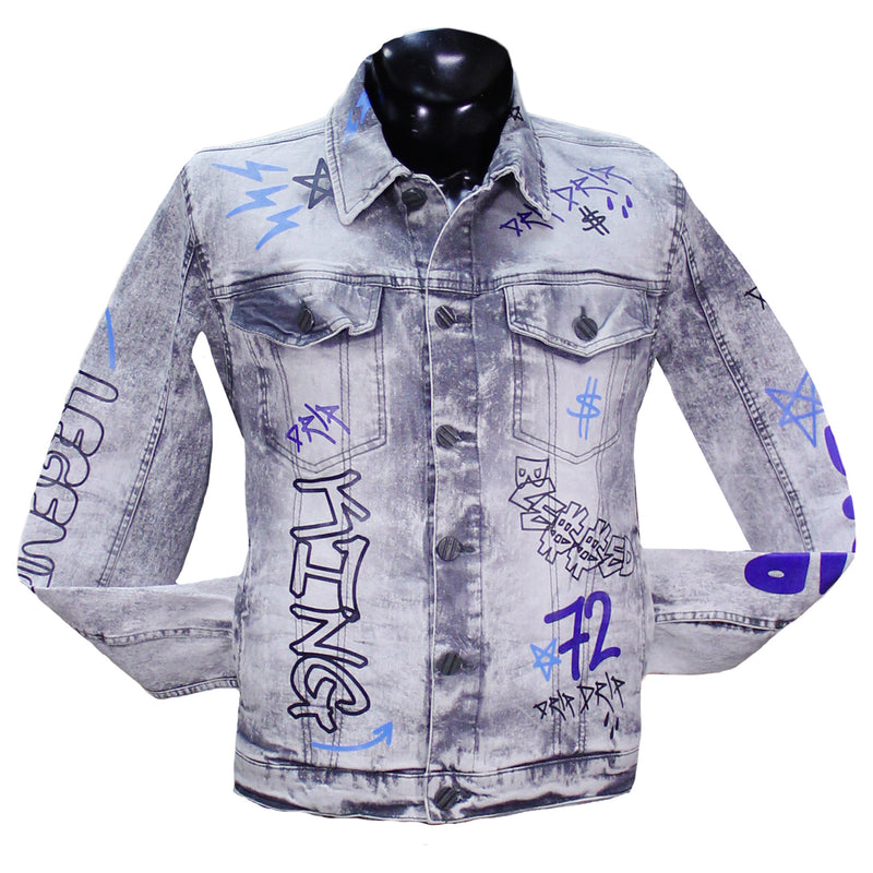 Grey Graffiti Denim Jacket FWRD Denim Jacket