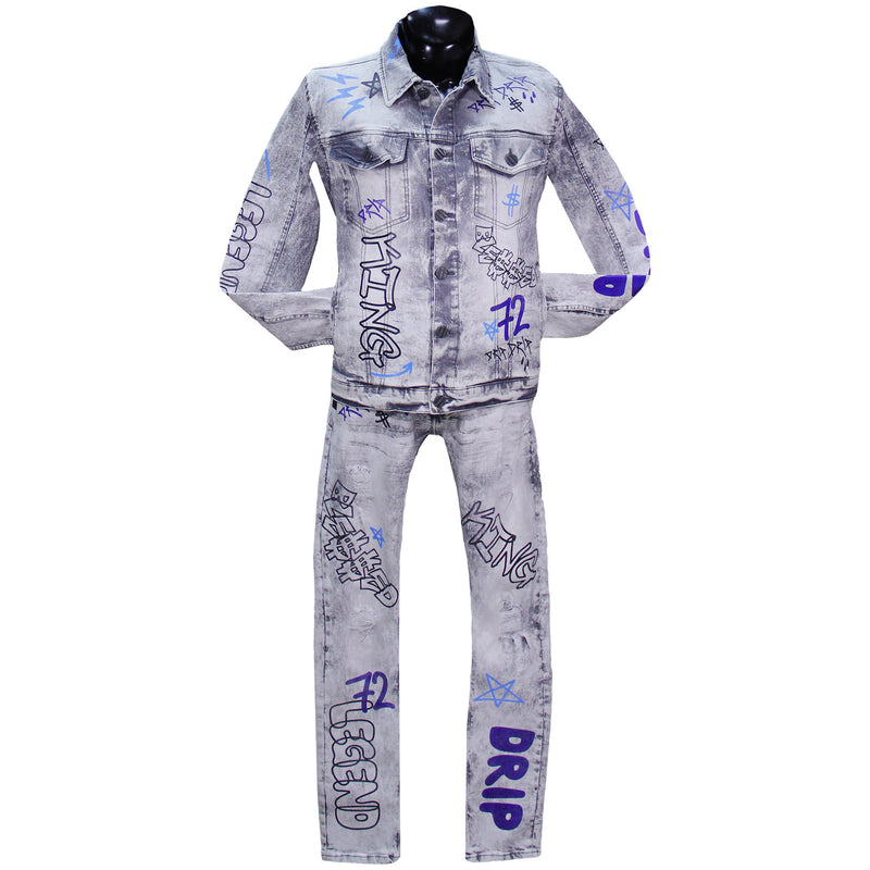 Grey Graffiti Denim Set FWRD