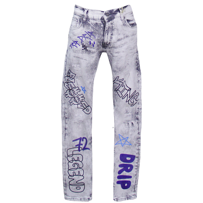 Grey Graffiti Denim Pants FWRD Jeans