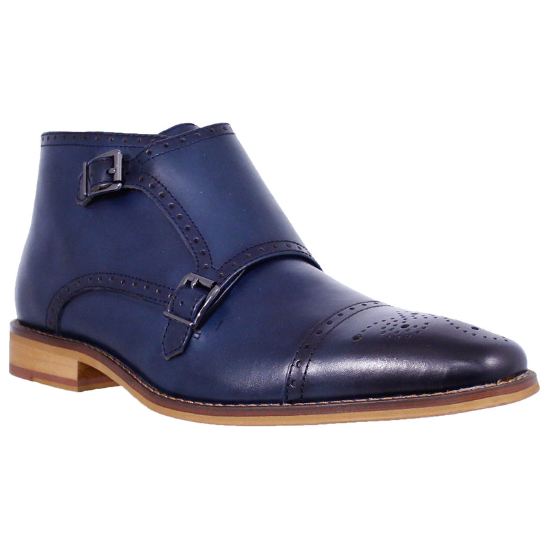 Navy Double Buckled Boot La Milano