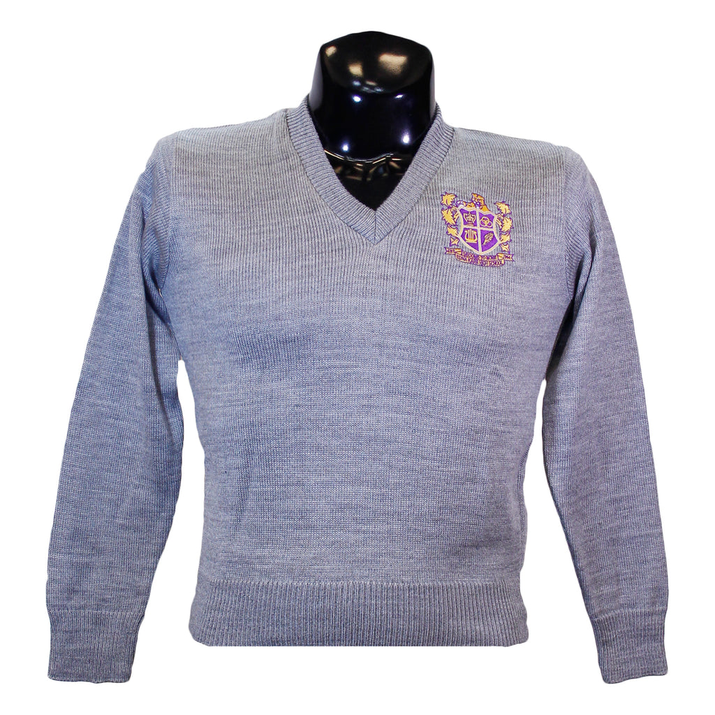 Edna Karr Grey V Neck Sweater