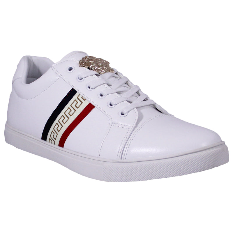 White Geo Print Royal Sneakers