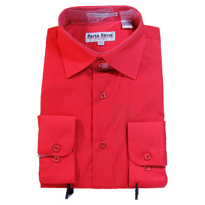 Solid Red Porta Rosa Shirt W/ Tie and Hanky  Includes Dress Shirt, Tie, Handkerchief, and Cuffs