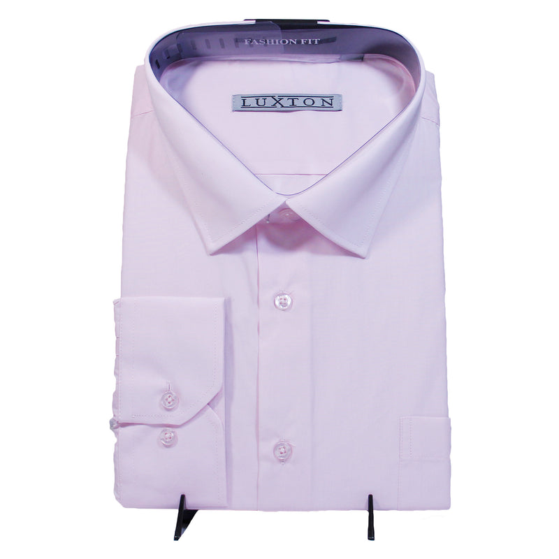 Solid Pink Luxton Shirt W/ Tie and Hanky  Includes Dress Shirt, Tie, Handkerchief, and Cuffs