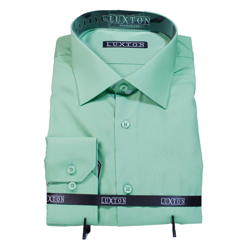 Solid Green Luxton Shirt W/ Tie and Hanky  Includes Dress Shirt, Tie, Handkerchief, and Cuffs
