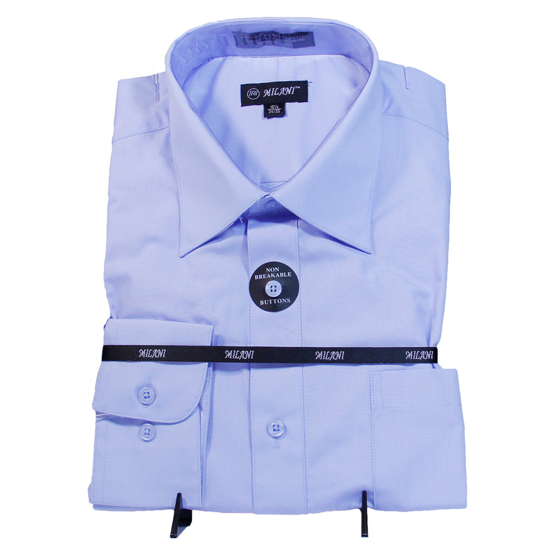 Solid Blue Milani Shirt W/ Tie and Hanky  Includes Dress Shirt, Tie, Handkerchief, and Cuffs