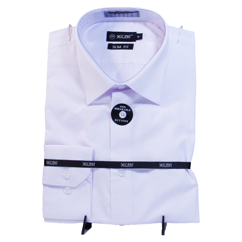 White Slim Fit Milani Shirt W/ Tie and Hanky  Includes Dress Shirt, Tie, Handkerchief, and Cuffs
