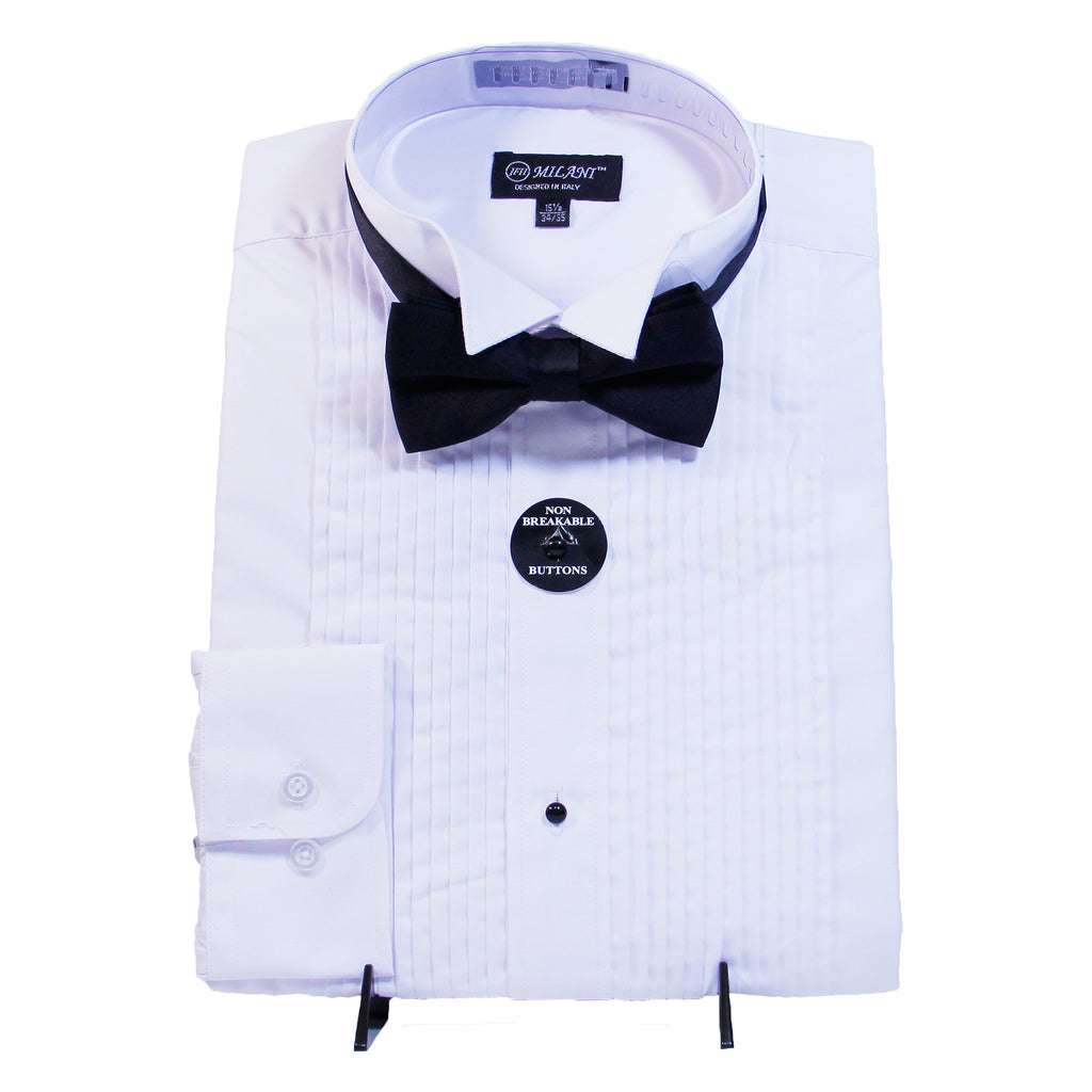 White Tuxedo Shirt Milani Shirt W/ Bow Tie  Includes Tuxedo Shirt and Bow Tie