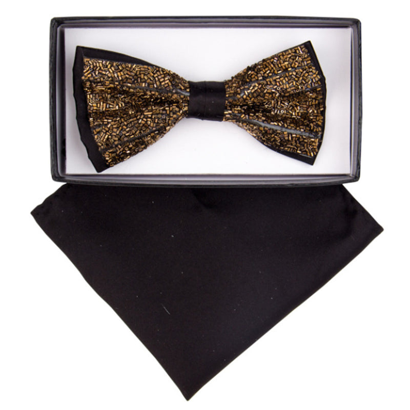 Gold and Black Rhinestone Bow Tie