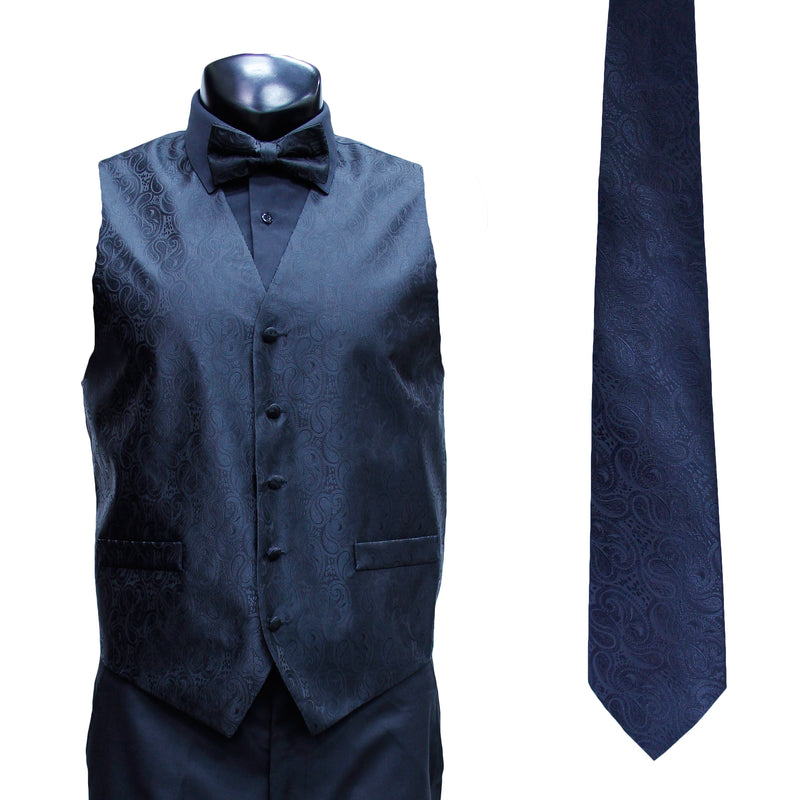 4 Pc Black Vest Set with Hanky and Tie