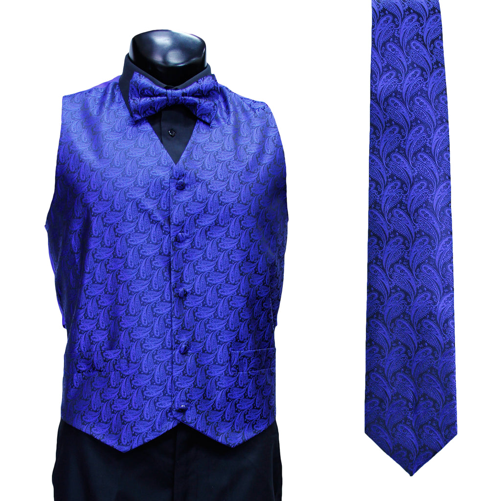 4 Pc Blue Vest Set with Hanky and Tie