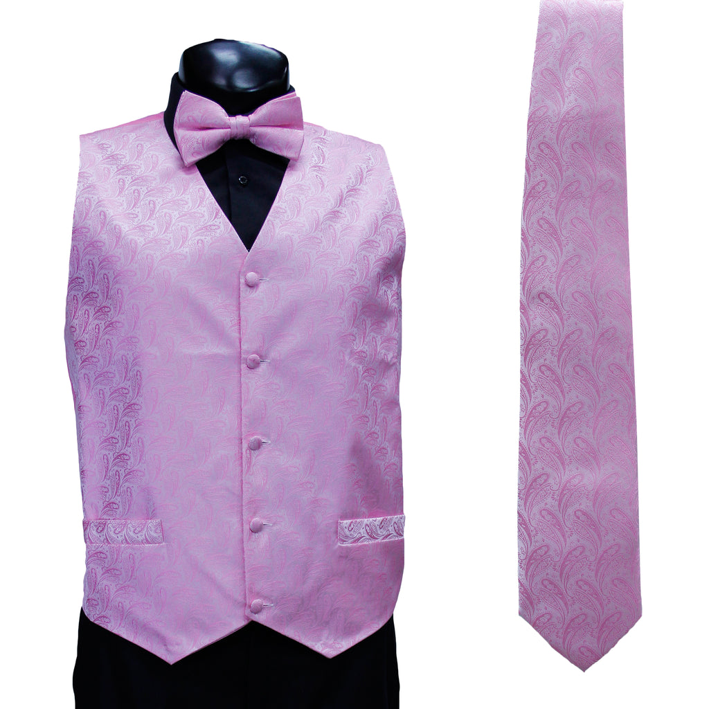 4 Pc Pink Vest Set with Hanky and Tie