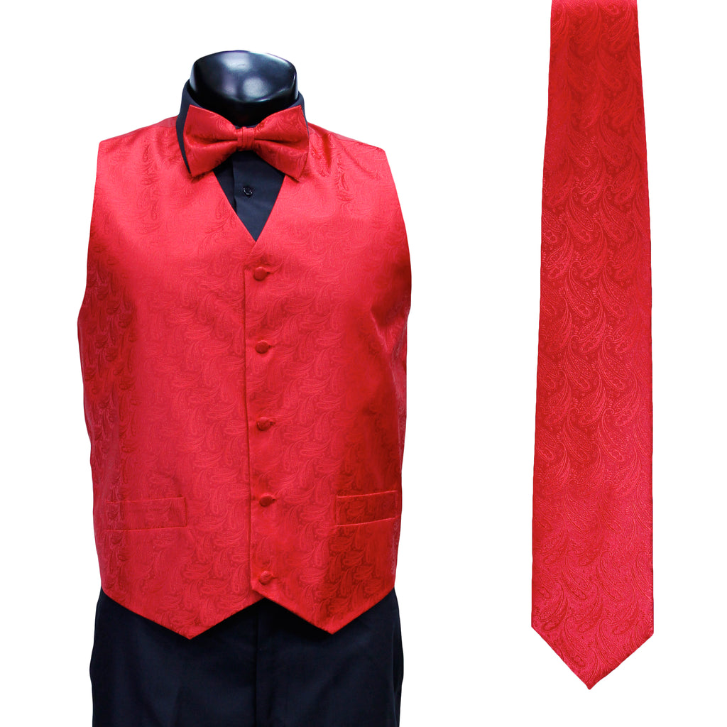 4 Pc Red Vest Set with Hanky and Tie