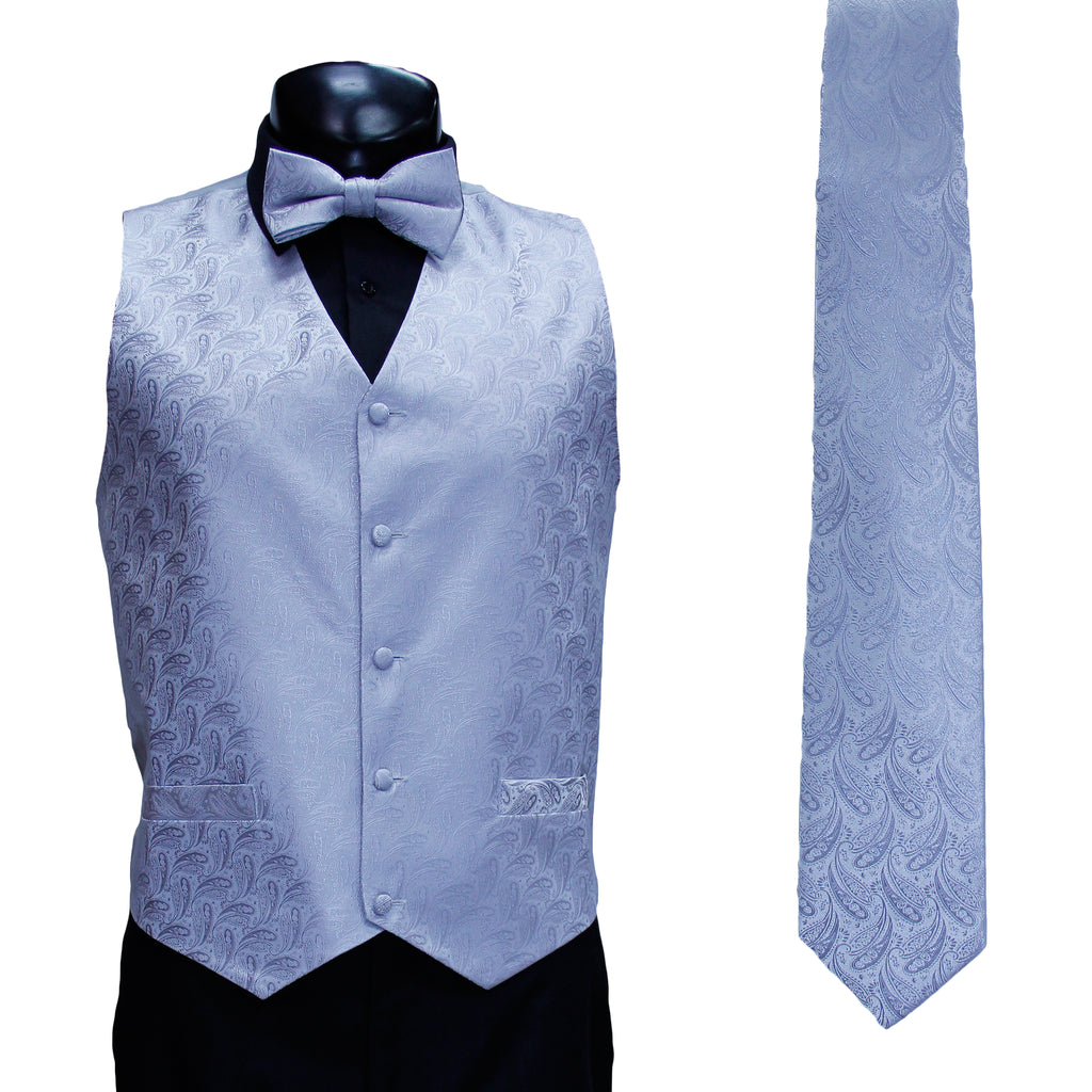 4 Pc Silver Vest Set with Hanky and Tie