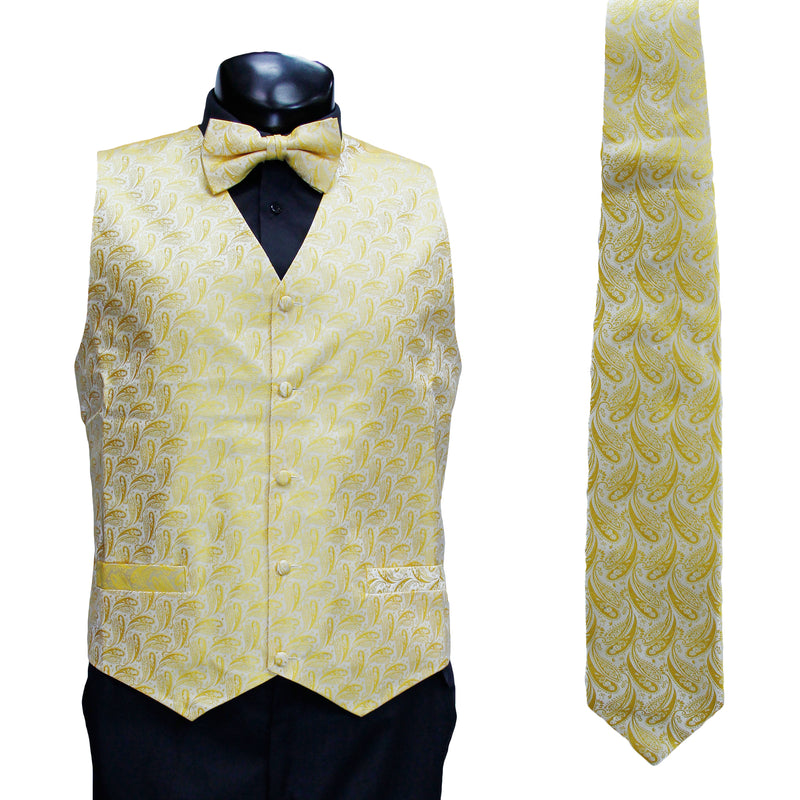 4 Pc Yellow Vest Set with Hanky and Tie
