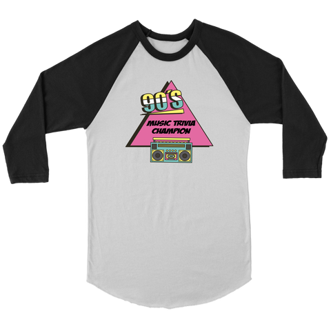 Image of 90s Music Trivia Champion Funny 1990s 3/4 Sleeve Baseball Shirt
