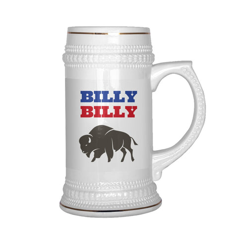 Image of Drinkware - Billy Billy Buffalo Bills Football Beer Stein - Dilly Dilly Bills Mafia Beer Stein