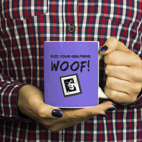 Image of Drinkware - Buzz Your Girlfriend WOOF Funny Coffee Mug - Home Alone Christmas Movie