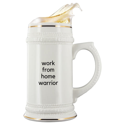 Drinkware - Work From Home Warrior Ceramic Beer Mug