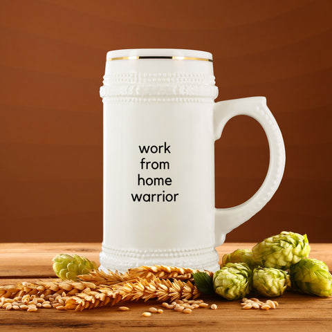 Image of Drinkware - Work From Home Warrior Ceramic Beer Mug