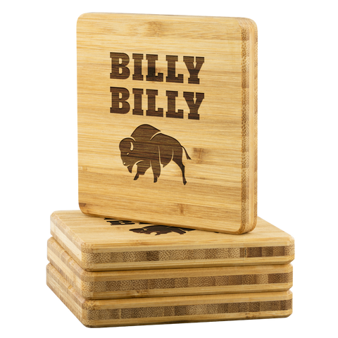 Image of Billy Billy Football Bamboo Coasters - Dilly Dilly, Bills Mafia, Buffalo Bills