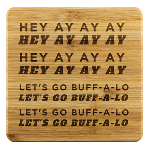 Let's Go Buff-a-lo Bamboo Coasters