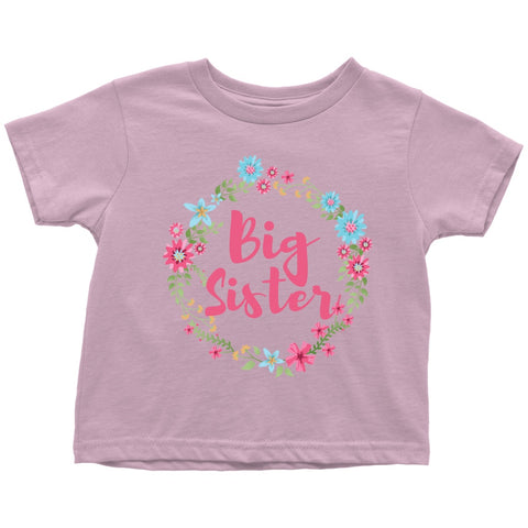 Image of T-shirt - Big Sister Cute Floral Toddler Tshirt - New Big Sister Gift, New Sibling Gift