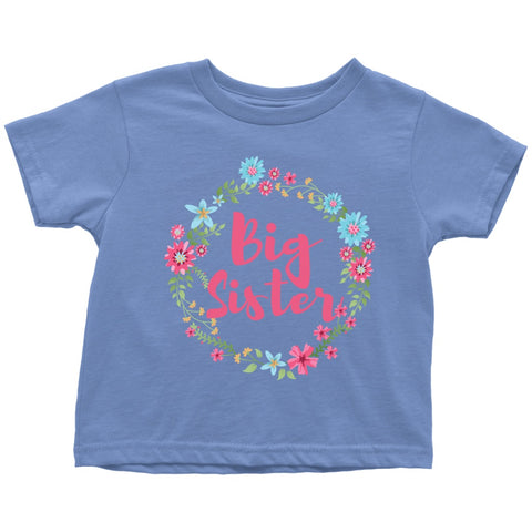 T-shirt - Big Sister Cute Floral Toddler Tshirt - New Big Sister Gift, New Sibling Gift