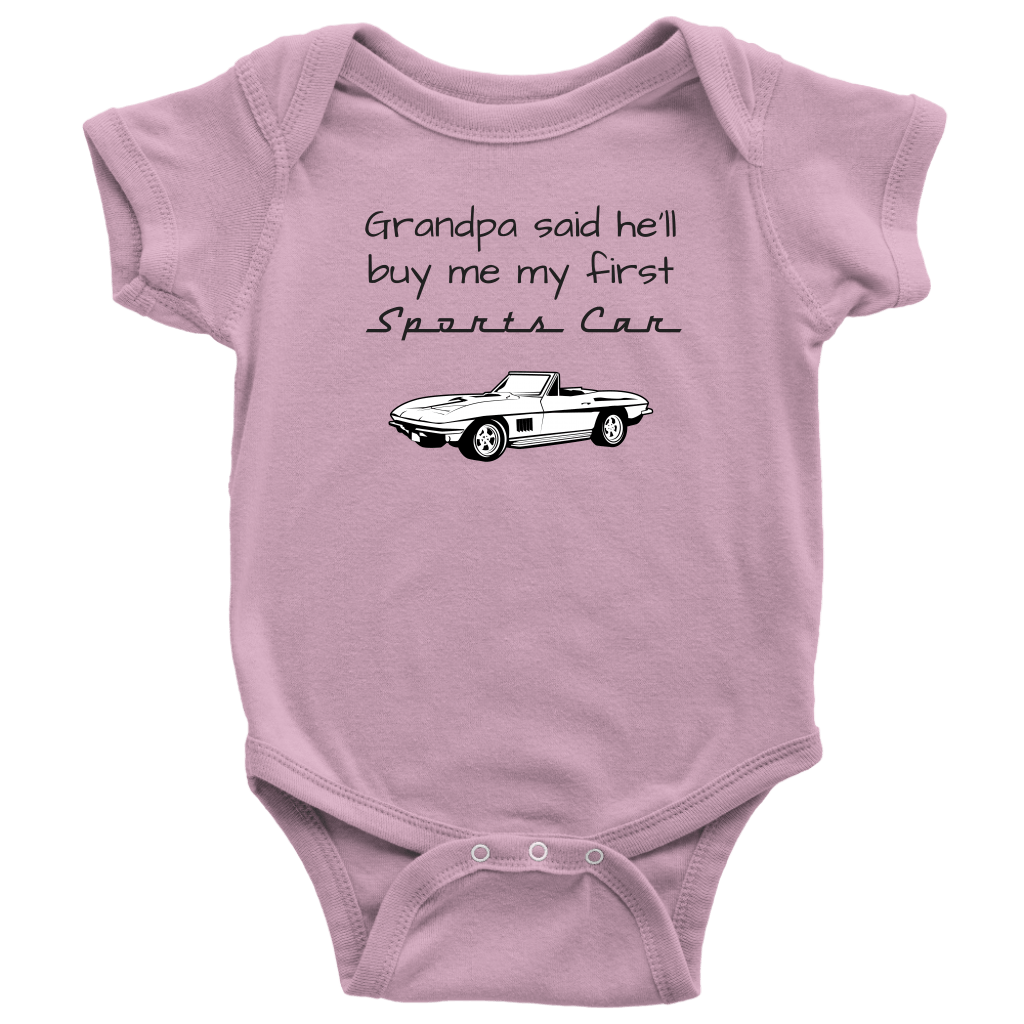 T-shirt - Grandpa Said He'll Buy Me My First Sports Car - Infant / Toddler One Piece Bodysuit, Short Sleeve / Long Sleeve, Corvette C2