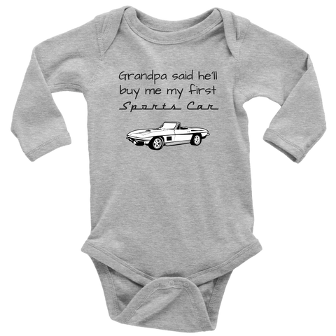 Image of T-shirt - Grandpa Said He'll Buy Me My First Sports Car - Infant / Toddler One Piece Bodysuit, Short Sleeve / Long Sleeve, Corvette C2