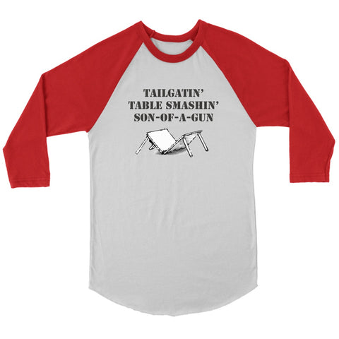 Image of T-shirt - Tailgating Table Smashing Son-of-a-Gun Unisex Buffalo Bills Baseball Shirt - Bills Mafia Raglan Shirt