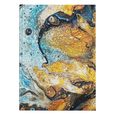 "Image of Golden Indigo Splash Blank Journal - Small - 5.75"" x 8"" & Large - 7.25"" x 10"""