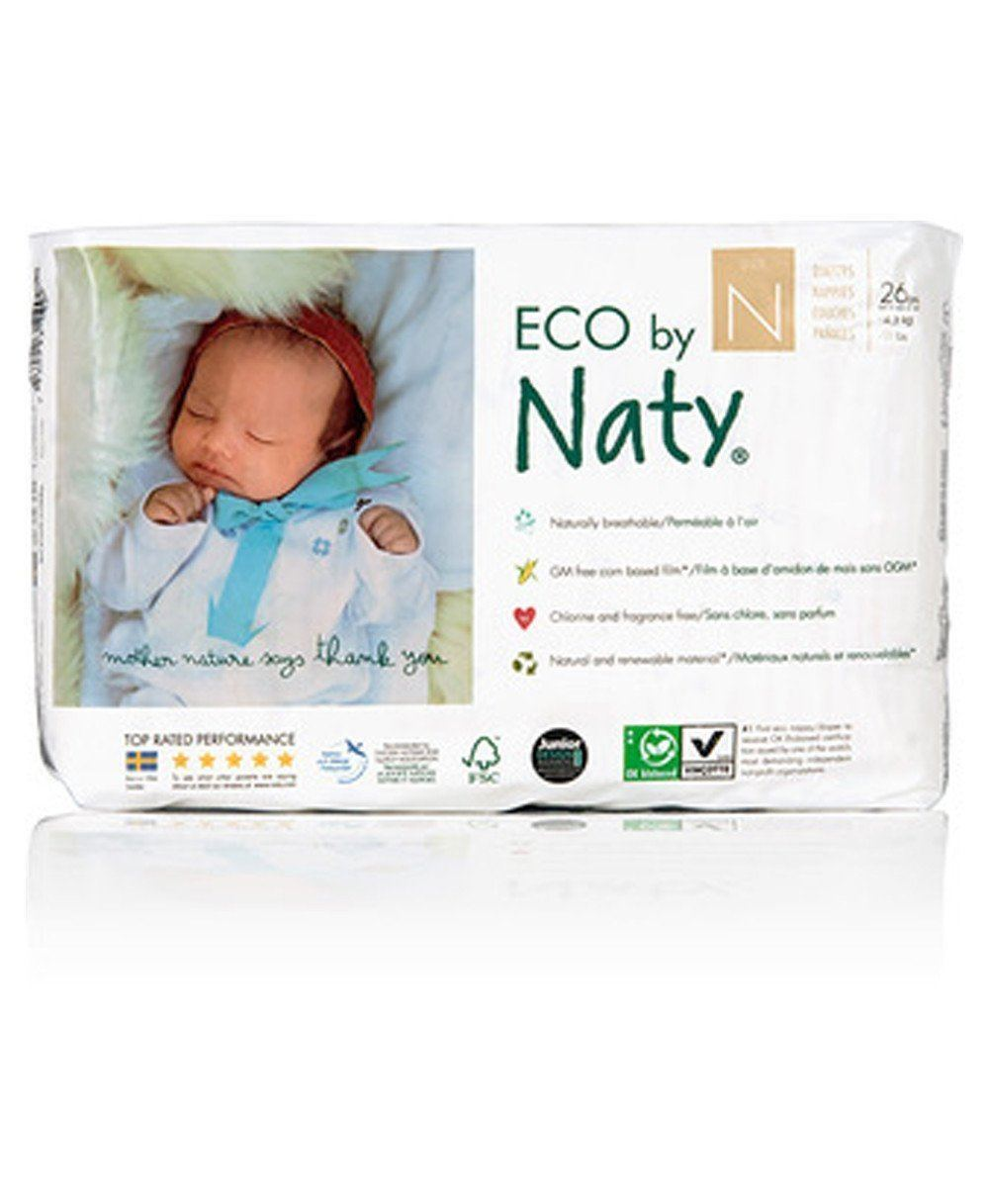 Naty Newborn Biodegradable ECO Diapers, Size 0, -11lbs Diapers and Wipes betterorganicformula.com