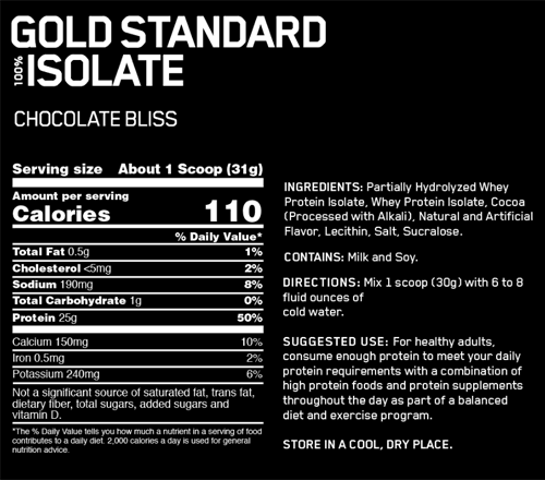 Optimum Nutrition Isolate Nutritional Panel
