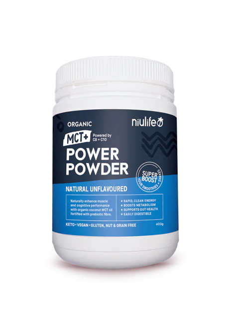 Niulife MCT+ Power Powder - Natural Unflavoured 400g - Certified Organic - General Health / Vitamins - WholeSupps Online Mega Store