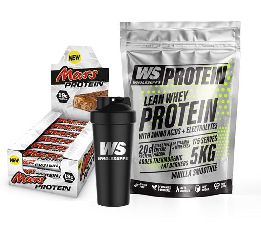 Wholesupps Protein Shake stack- 5kg of Lean Whey Protein, Box of Mars or Snickers & Shaker - Protein Powder - WholeSupps Online Mega Store